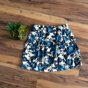 Loft Blue & Brown Floral Midi Skirt